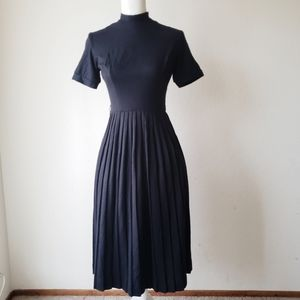 Vtg 50's Pleated Midi Dress Saba California Black